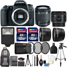 Canon EOS Rebel 77D 24.2MP DSLR Camera + 18-55mm + 50mm 1.8 STM + 64GB Lens Kit