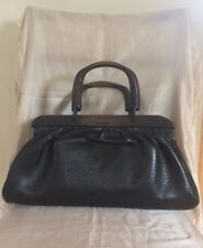 Gucci Black Leather Doctor Bag with Wood Handle