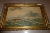 "Artist Signed Back Oil on Canvas Painting 20x 12"" Seascape Antique Lighthouse"