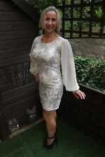 IVORY LACE WITH SPARKLING SILVER DETAIL & PUFF SLEEVES PROM COCKTAIL DRESS UK 10