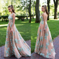 Lace Applique Evening Dresses Bead A-line Pageant Dress Prom Party Stroll Downs