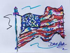 USA Flag Sketch Original Art PAINTING DAN BYL Modern Pop 8.5x11 inches on paper
