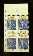 US Stamps Plate Blocks #2224 ~ 1986 LIBERTY 22c Plate Block MNH