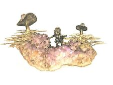 MID-CENTURY  BRUTALIST  COPPER & BRONZE ON  AMETHYST  ELF ~ GNOME AND MUSHROOMS
