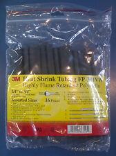 "3M Heat Shrink FP-301-VW 1/4-3/4"" Asst sizes Black, 6 in pcs 16 pcs/bag 2 packs"
