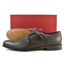 """SALVATORE FERRAGAMO """"Giovanni"""" Brown Grain Double Monk Strap Shoes US 11 D NIB"""