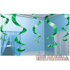 GREEN FOIL SWIRL DECORATIONS (5) ~ Birthday Party Supplies Hanging Decorations