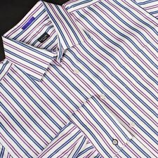 "PAUL SMITH Dress Shirt Purple Blue White Stripe Recent Size 16-1/2"" x 35"" Italy"