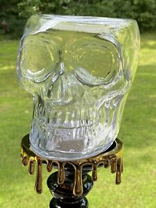 Bath & Body Works Lights Up Clear Skull 3-Wick Candle Holder 2021 Collection