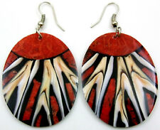Natural Cone Shell Red Coral Dangle Drop Earrings Handmade Women Jewelry DA285-A