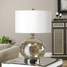 """NEW 27"""" LARGE IRIDESCENT WATER GLASS TABLE LAMP LINEN POLISHED NICKEL LIGHT"""