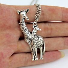 FREE GIFT BAG Silver Plated Giraffe & Baby Animal Necklace Chain Cute Jewellery