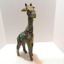 Indian Sari Fabric Wrapped Paper Mache Giraffe Sculpture