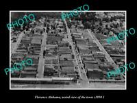 OLD POSTCARD SIZE PHOTO FLORENCE ALABAMA, AERIAL VIEW OF THE TOWN c1950