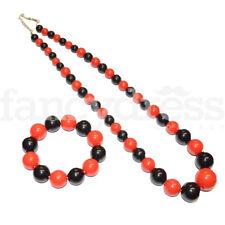 Spanish Flamenco Necklace and Bracelet Set Red & Black Fancy Dress Accessory NEW