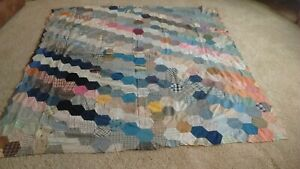 Vintage Hand Pieced Grandmother's Garden Quilt top Scrappy Look Great Fabrics