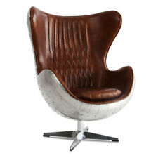 MarquessLife Handmade 100% Genuine Leather Industrial Style Egg Chair Wing Back