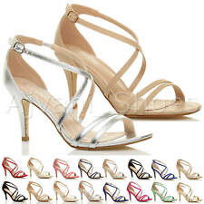 Donna tacco alto medio cinghietti incrociato matrimonio sera sandali taglia