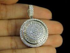 14k White Gold Finish 1.50 Ct Baguette Cut Diamond Iced Dome Medallion Pendant