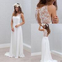 Bohemian Lace Chiffon Beach Wedding Dresses A-Line Bridal Gowns White/Ivory