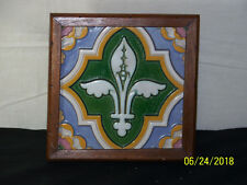 Antique Minton & Co., Stoke On Trent Fleur-De-Lis Framed Art Pottery Wall Plaque