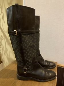 Louis Vuitton Boots Monogram Mini Lin Brown Leather  37 US 7