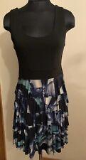 Arden B Floral Ruffled Layered Dress Black Blue Green M Medium stretch printed