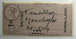 1903 2A SOMALILAND PROTECTORATE COURT FEES REVENUE BAREFOOT # 12B USED  CS10615