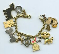 DOG CHARM BRACELET WITH RECYCLED COLLECTIBLES SOME VINTAGE