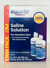 Equate Saline Solution for Sensitive Eyes 2 Bottles 12Fl oz each Exp 08/2020