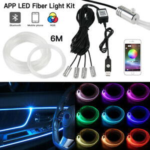 6m RGB LED Auto Innenraumbeleuchtung Ambientebeleuchtung APP Musik Control Set