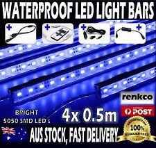 4X12V Waterproof BLUE 5050 Led Strip Lights Bars Car Camping +Remote + Cig Adap