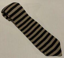 """Throat Threads Mens Necktie, 100% Cotton, Black & Brown Stripes, 53"""" X 3.5"""""""