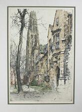"""Yale University, Harkness Hall"" Luigi Kasimir Signed Colored Etching/Aquatint"