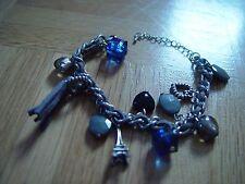süßes Bettelarmband Paris Eiffelturm Perlen Blau Herz Troddel