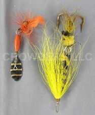 "Vintage Fishing Bait 1.75"" ABU Spinnaren Reflex & Black/Yellow Jointed Fly Lure"