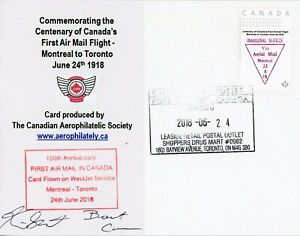Postcard commemorating Canada's first airmail flight - pilot signed