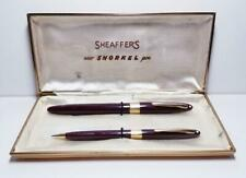 Estate Vtg Scheaffers Snorkel Pen and Pencil Set Burgundy w/Box & Instructions