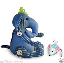 2 X Stuffed Toy Sewing PATTERNS, Denim Elephant & Cute Mouse Pin Cushion / Easy