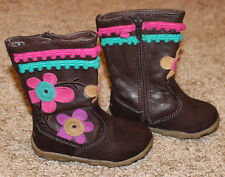 CUTE STRIDE RITE BABY GIRL BROWN BOOTS SHOES FLOWERS POM-POMS ZIP CLOSURE 4.5