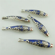18298 2PCS Alloy Cloisonne Enamel Flower Blue Fish 43mm Spacer Bead Crafts