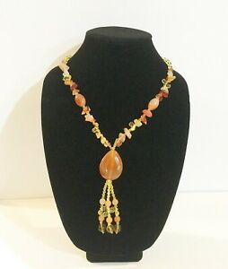 """28"""" chain Women Long Sweater Necklace Made with Red Agate Teardrop Shape Pendant"""