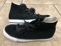 Converse Chuck Taylor All Star Hi Top Black Suede Sneakers Sz 7 Womens Sz 5 Mens
