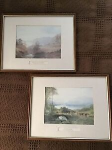 """PAIR OF WOODEN PICTURE FRAMES WITH BEAUTIFUL SCENERY """"DERWENT WATER"""" & """"SKIDDAW"""""""