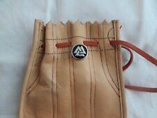 Vegivisir brooch Larp Leather Pouch w/leather tie.