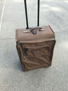 """Rare Tumi Made In USA Brown Ballistic 24""""Upright Rolling Carry On Luggage Bag"""