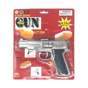 45 Magnum 8 Ring Shot Cap Gun Silver Diecast Metal Replica Pistol Police Prop