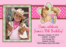 15 Cowgirl Birthday Invitations Pink Purple Girl Party Invite Horse PRINTED 4x6