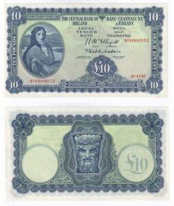 IRELAND Lady Lavery £10 Banknote (1957) BYB ref: E107 - aEF.