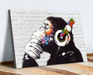 MONKEY DJ BANKSY WHITE BRICK CANVAS STREET WALL ART PRINT ARTWORK -  GORILLA